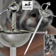 Spanish Cup-Hilt Rapier Letter Opener With Presentation Box & Stand